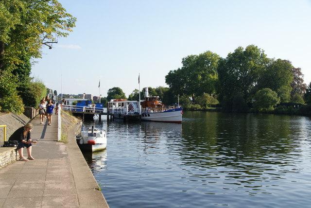 Paddle steamer moored near Kingston