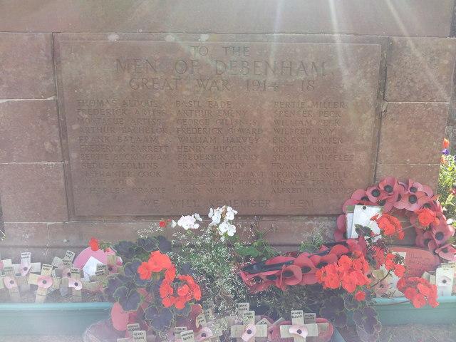 WW1 names on War Memorial, Debenham