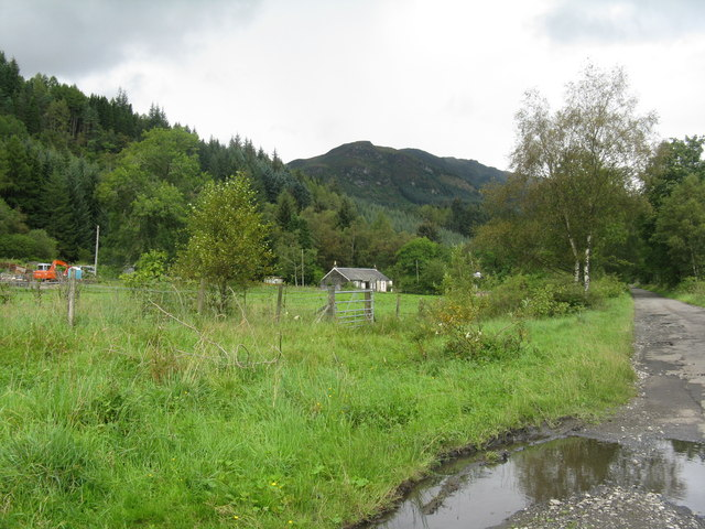 The road to the cabins in Strathyre