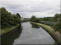 TQ2182 : Grand Union Canal, view East from footbridge to Hythe Road by David Hawgood