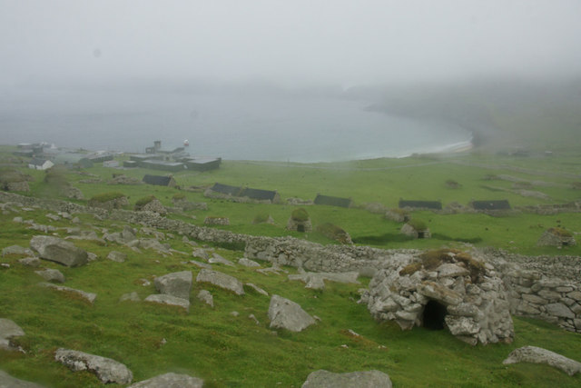 View over Village Bay from below An Lag, St Kilda
