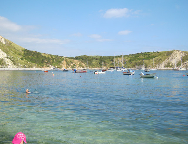Boats moored in Lulworth Cove