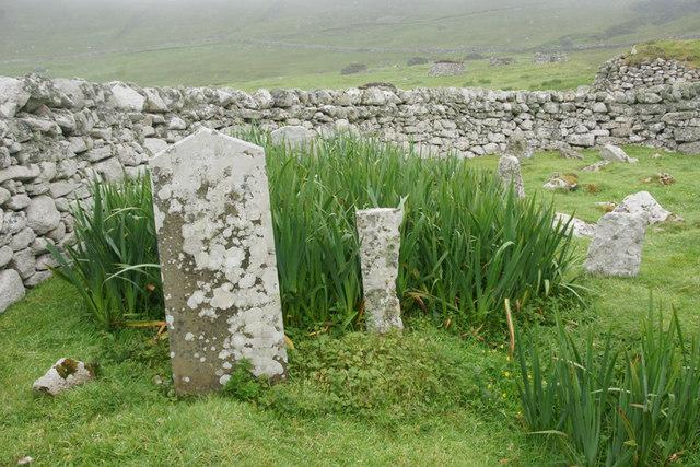 Old gravestones in the graveyard, Village Bay, St Kilda