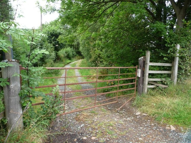 Public footpath on a gated track