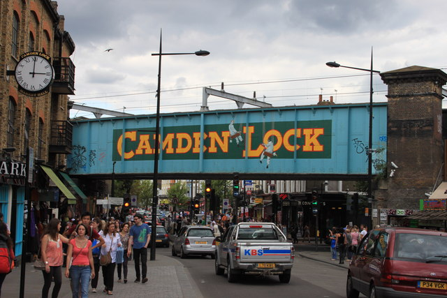Camden Lock rail bridge crosses Camden High Street