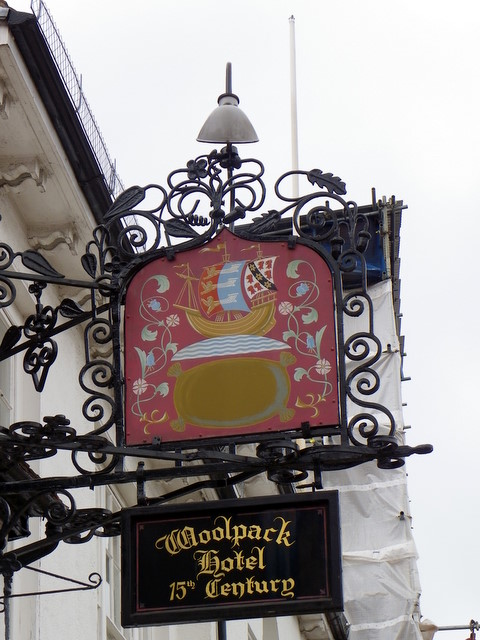 Sign for the Woolpack Hotel