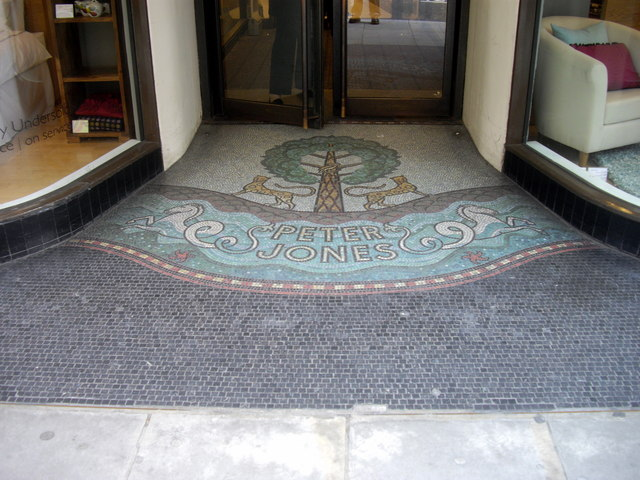 Mosaic in doorway of Peter Jones department sotre Chelsea