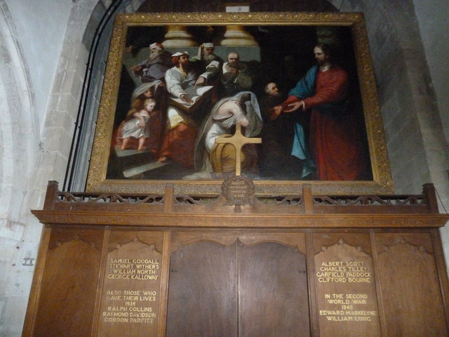 St Peter, Goodworth Clatford: painting above the war memorial