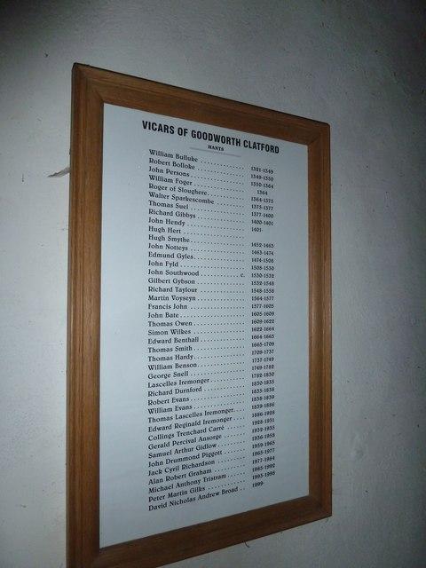 St Peter, Goodworth Clatford: incumbency board