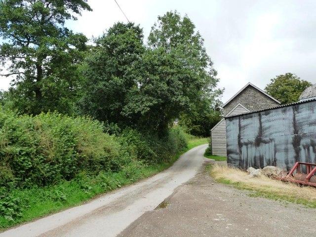 Lane snaking past farm buildings