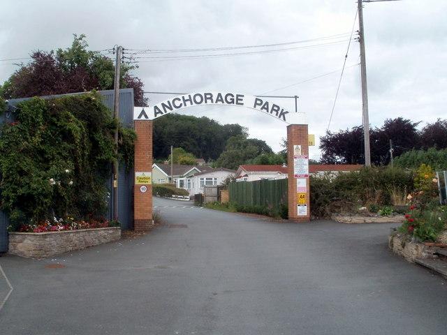 Entrance archway into Anchorage Caravan Park, Bronllys