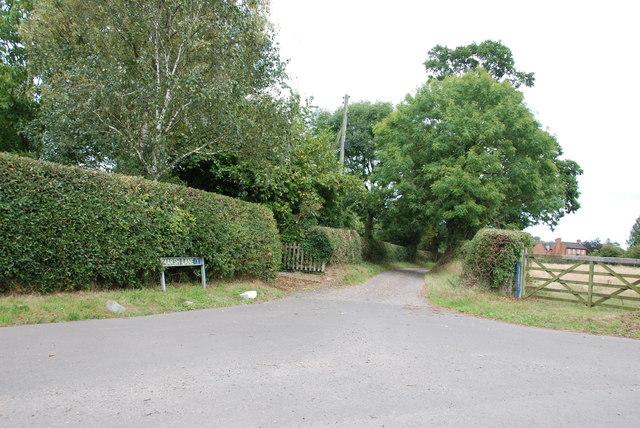 Entrance to Marsh Lane, Ellenhall
