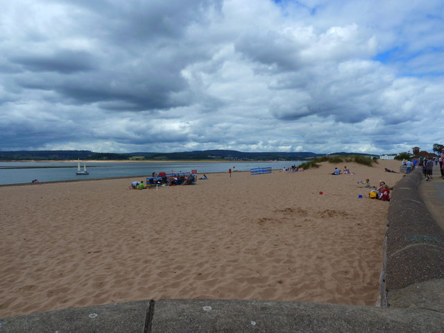 The prom wall, the beach and the Exe estuary, Exmouth