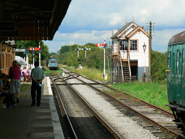 Hayes Knoll Station and signal box, Swindon and Cricklade Railway
