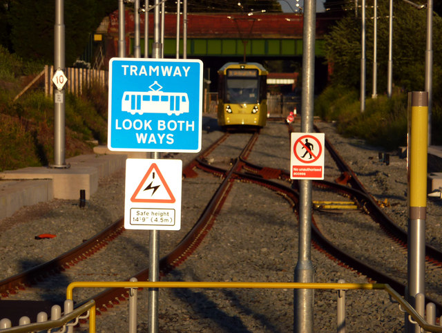 Signs at the south east end of St Werburgh's Road Metrolink station, Chorlton
