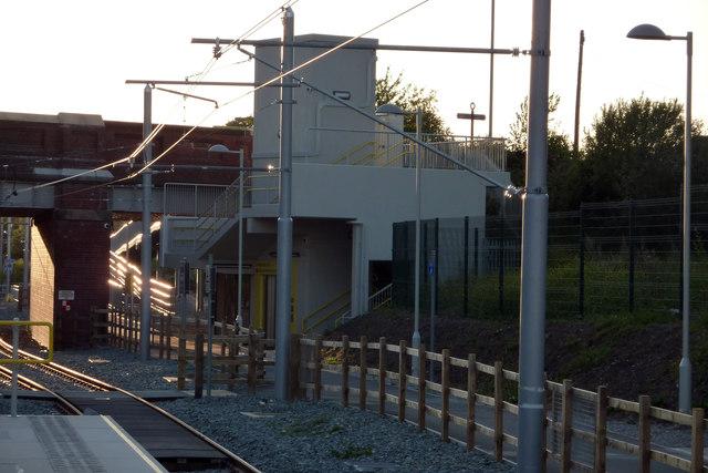Stairway and lift tower, St Werburgh's Road Metrolink station, Chorlton