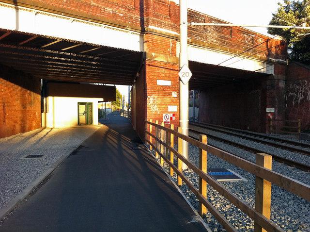Cycle path near St Werburghs Road Metrolink station, Chorlton