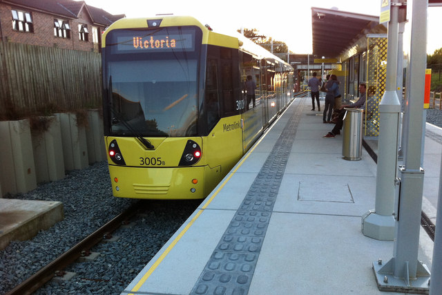 Tram at St Werburgh's Road Metrolink stop, Chorlton