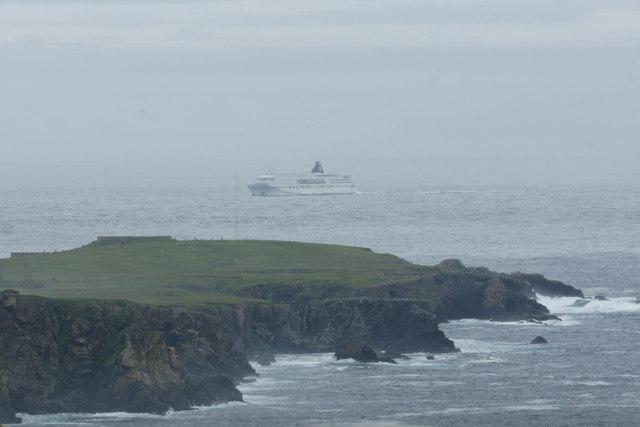 MV Norrona passing Lamba Ness, Unst