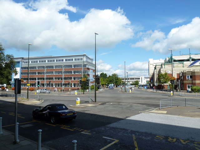 Looking from the railway station towards the bus station