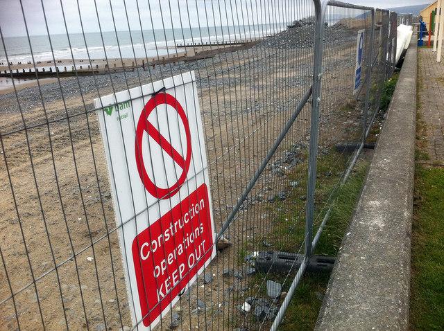 Coastal protection works at Borth
