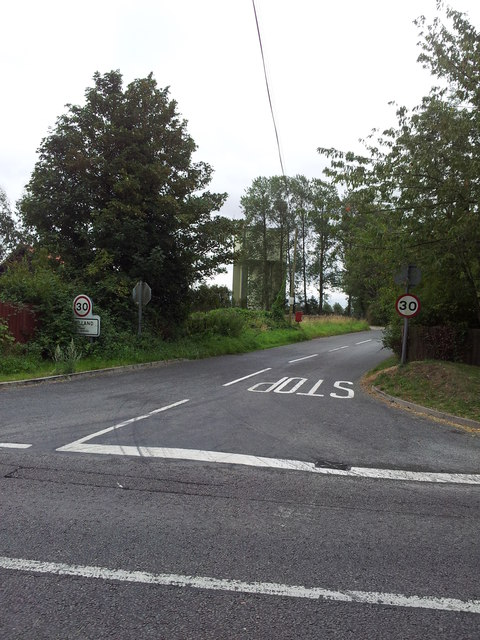Road junction & Swilland water tower