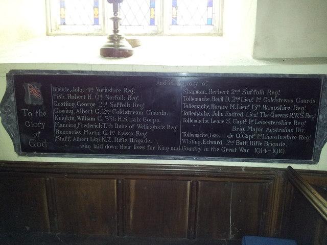 War Memorial, Helmingham