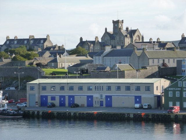 Lerwick: harbour buildings and the Town Hall