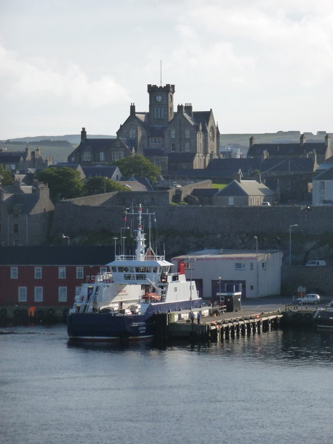 Lerwick: the Bressay ferry and the Town Hall