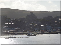 HU4741 : Lerwick: view of the town against the sun by Chris Downer