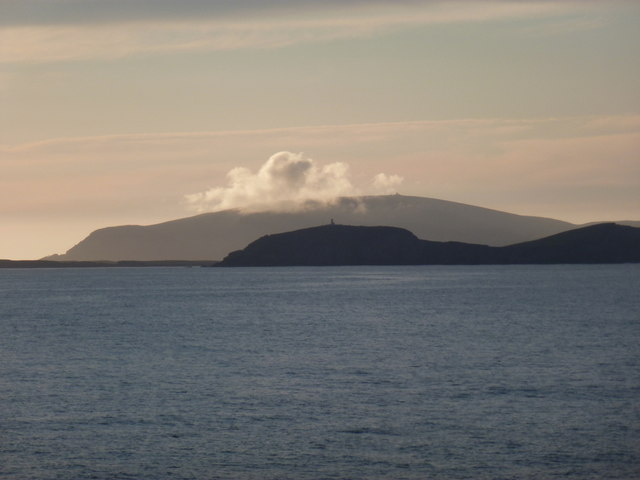 Sumburgh: silhouette framed by Fitful Head