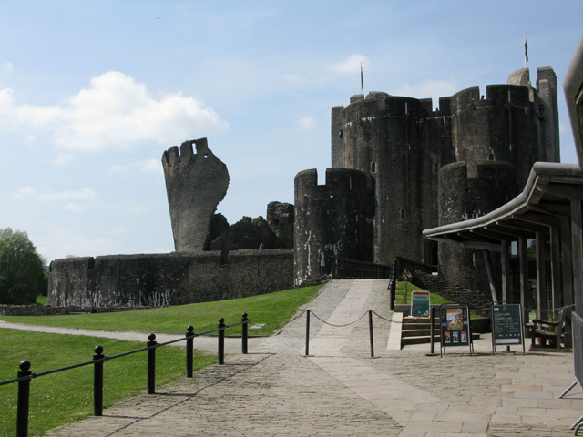Caerphilly Castle from the entrance