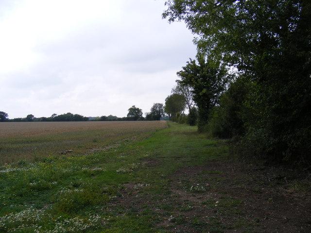 Footpath to Snipe Farm Lane & the B1079 Grundisburgh Road