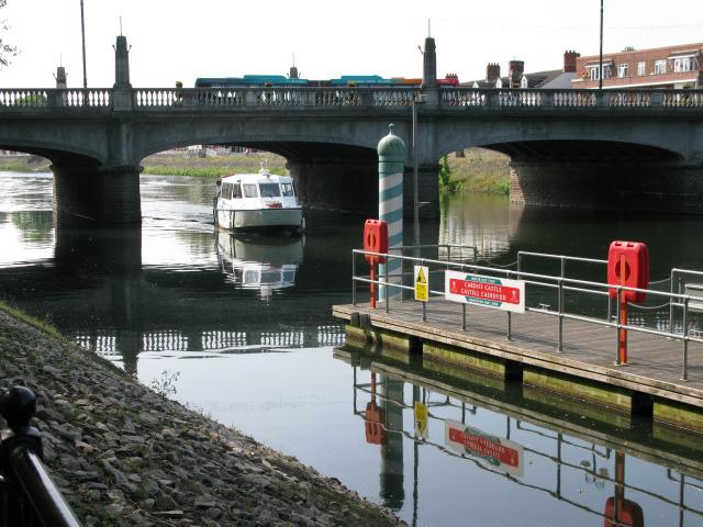 Aqua-bus approaching under Cardiff Bridge