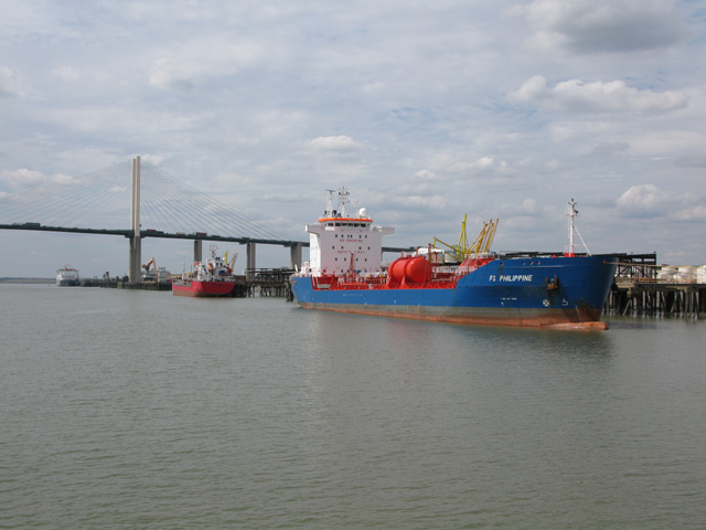 Ships moored off West Thurrock Marshes