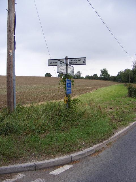 Roadsign on the B1079/Snipe Farm Lane junction