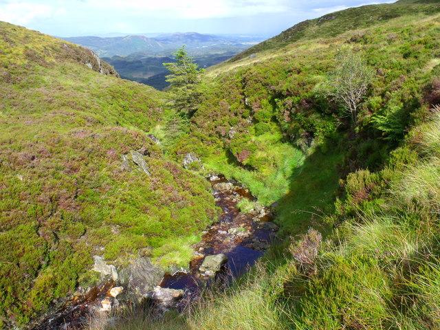 Allt Crioch finding fault in the terrain in Loch Ard Forest near Aberfoyle