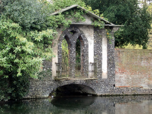 Bridge over Lake, Bourne Hall, Ewell West, Surrey