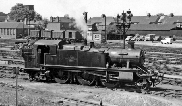 A smart '6100' 2-6-2T in the Locomotive Yard at Slough