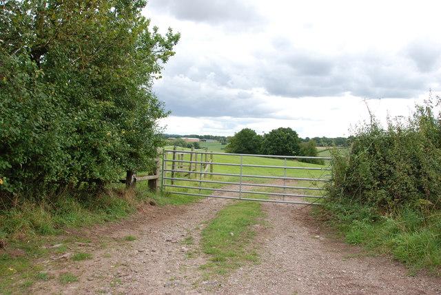 View through  Gate across Pastureland