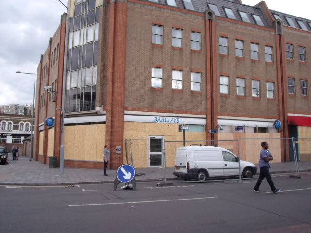 Barclays bank Woolwich after the riots
