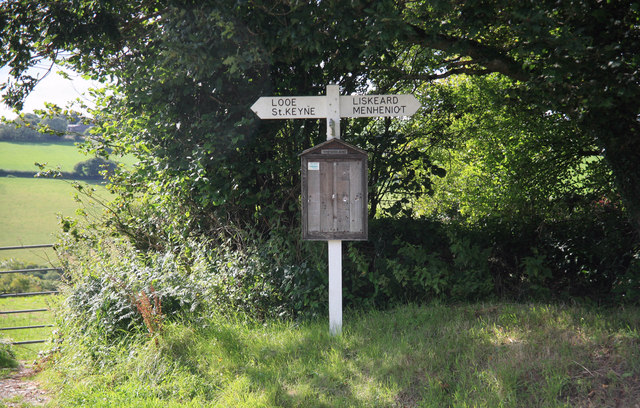 Signpost in the Looe valley