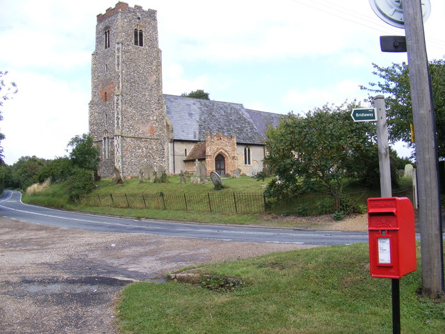 Shadingfield Church, The A145 & London Road Postbox