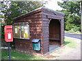 TM4575 : Highfields Postbox, Bus Shelter & Notice Board by Adrian Cable