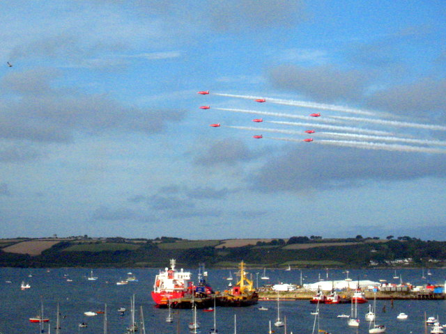 The Red Arrows above Falmouth Docks