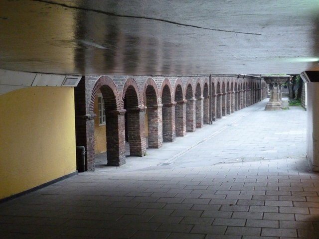 Newcastle upon Tyne: a subway and an older wall