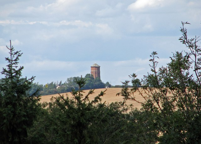 Linton Water Tower seen from Bartlow Hills
