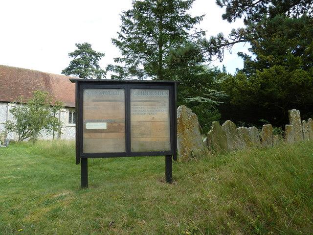 St Leonard, Cliddesden: notice board