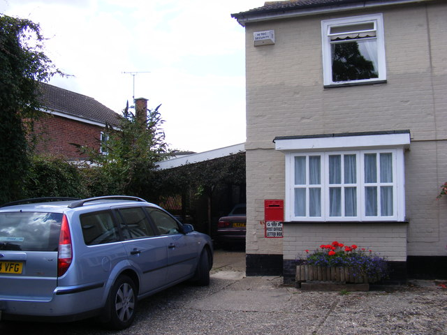 The former Brandeston Post Office & Post Office Mill Lane George V Postbox