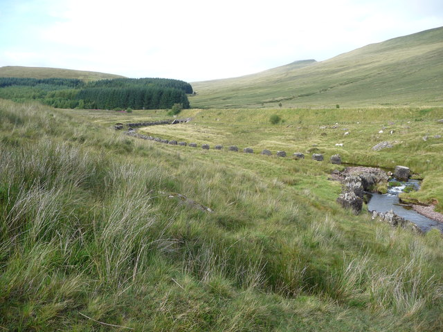 Part of the course of the Afon Taf Fawr below the Beacons